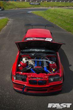 It only took one smokey passenger lap in a drift taxi at Driftland to inspire the build of this savage Toyota JZ-engined British Drift Championship BMW Bmw E36 Drift, Bmw Red, Toyota, E36 Coupe, Bmw Motors, Street Racing Cars, Auto Racing, Bmw Girl, Custom Chevy Trucks