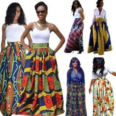 African Ankara Dashiki Print High Waist Pleated Boho Beach Long Maxi Skirt Dress