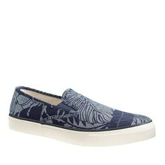 Sperry Top-Sider® for J.Crew CVO slip-on sneakers in printed chambray - shoes - Men's New Arrivals - J.Crew