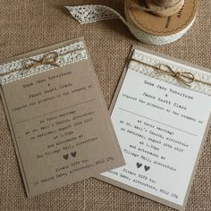 VINTAGE STYLE WEDDING INVITATION Kraft/Ivory Lace & Twine Rustic Shabby Chic in Home, Furniture & DIY, Wedding Supplies, Cards & Invitations | eBay