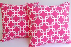 "Throw pillow covers 18"" x 18"" set of two Candy Pink Gotcha. $30.00, via Etsy."