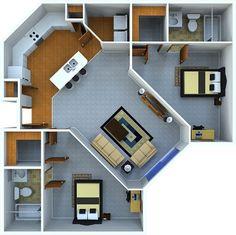24 Ideas Apartment Bathroom Design Ideas Floor Plans For 2019 Sims House Plans, Dream House Plans, Small House Plans, House Floor Plans, Small Apartment Layout, Apartment Bathroom Design, Small Apartments, Small House Layout, Kitchen Layout Plans