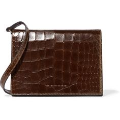 Victoria Beckham Star croc-effect leather shoulder bag (3 515 PLN) ❤ liked on Polyvore featuring bags, handbags, shoulder bags, brown, leather purses, leather shoulder handbags, brown purse, genuine leather handbags and brown handbags