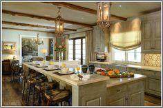 "Houston Interior Design - Loren Interiors-- beams, lighting, and elevated ""eat-in"" island..."