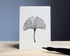 hand drawn postcard GINKGO 10,5 x 14,8 cm // ink leaf illustration - card with black drawing