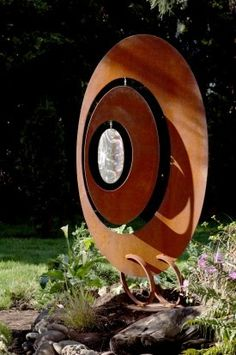 Oval Wind Catcher Garden Sculpture « Phil Beck Metal Art - All About Metal Sculpture Artists, Wind Sculptures, Steel Sculpture, Garden Sculpture, Garden Totems, Metal Tree Wall Art, Scrap Metal Art, Metal Artwork, Statues