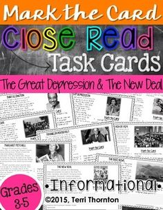 Close Reading Task Cards: The Great Depression & The New Deal