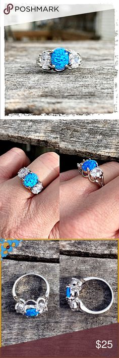 List! Blue Fire Opal & Zirconia Silver Ring! NEW Lab made opal measures 3/8 inch tall. Large cubic zirconia on each side. Stamped 925. Size 7. Boutique Jewelry Rings