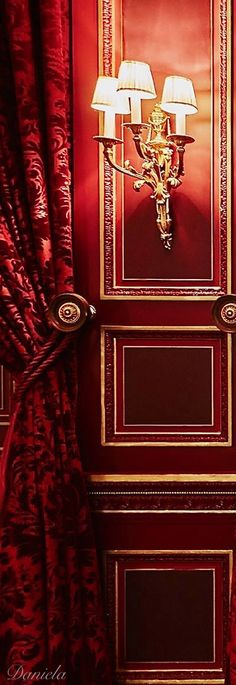 Red door, classical red colors, red damask drapes with hold back, brass scone