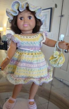 AG doll Free Knitting Pattern - Basic Easter Dress with Variations