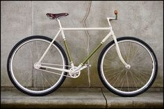 White bike with very small crank gear