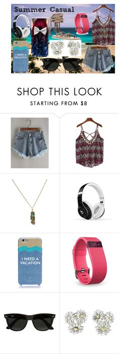 """""""Summer Casual"""" by mysterious-archer on Polyvore featuring Beats by Dr. Dre, Kate Spade, Fitbit, Ray-Ban, Gucci, Ancient Greek Sandals, Summer and casualoutfit"""