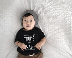 """Ultra-soft """"YOUNG AND WILD"""" t-shirts in sheer jersey American Apparel shirts. Perfect way to show off their baby """"YOUNG AND WILD"""" side.size information:    size: weight : height : chest    **sizes are based off of American Apparel's sizing charts""""""""BABIES:3-6 mos : 7-15 lbs : 14"""" : 17-24""""6-12 mos: 16-22 lbs: 16"""" : 25-28""""12-18 mos: 23-27 lbs: 18"""" : 29-31""""18-24 mos: 28-30 lbs: 20"""" : 32-34""""..."""