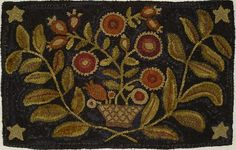 HAND HOOKED RUG ~ FLOWERS IN ANTIQUE BASKET PRIMITIVE HOOKED RUG~ | eBay