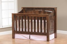 Near-natural environment in the nursery: Cribs made of solid wood solid wood baby crib mission panel 4 in 1 convertible baby crib made in usa Rustic Baby Cribs, Wooden Baby Crib, Rustic Crib, Wooden Cribs, Rustic Wood, Hardwood Furniture, Kids Furniture, Furniture Making, Hickory Furniture