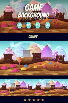 Candy Game Background - #Backgrounds #Game #Assets | Download http://graphicriver.net/item/candy-game-background/15283118?ref=sinzo