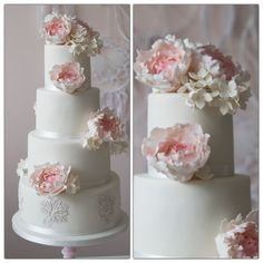 Pink peonies and white lace Weddingcake