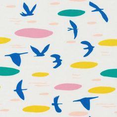 LOVE HEARTS 100/% cotton poplin fabric 2 METRES of KISSING SWANS BIRDS