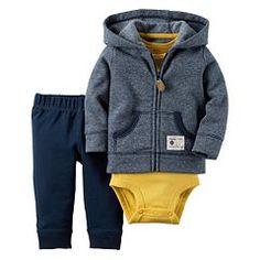 Baby Boy Carter's Striped Cardigan, Bodysuit & Pants Set