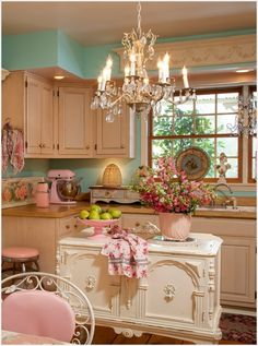 A Romantic Kitchen with a French Style Island