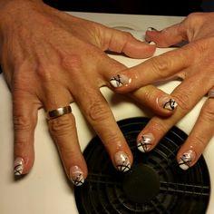 Xxx White acrylic Black White Silver strips nail art
