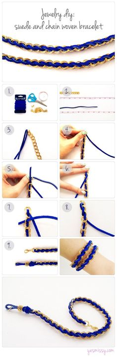 Suede Woven Chain Bracelet DIY: 1 yard (91cm) of Suede Lace or Leather  - 14 inches (36cm) of chain  - One clasp and a couple jump rings (optional)
