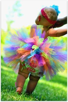 Rainbow Tutu for baby toddler girls great for by TrinitysTutus