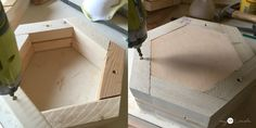 How to make DIY Hexagon Planters, free plans and picture tutorial. Scrap Wood Crafts, Scrap Wood Projects, Woodworking Projects Diy, Woodworking Shop, Woodworking Plans, Diy Wood Planters, Diy Planters Outdoor, Planter Boxes, Diy Furniture Easy
