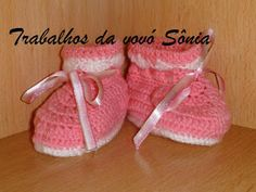Trabalhos da vovó Sônia: Sapatinho para bebê botinha rosa e branco - crochê...