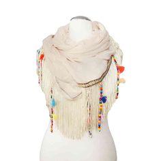 Coachella fringe scarf beige - Born2Style Fashion Store