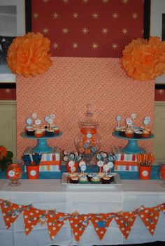 "Photo 4 of 20: Orange and Turquoise / Baby Shower/Sip & See ""Jen's Baby Shower"" 