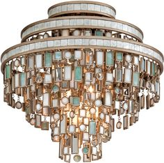 Mixed Shells w/Crystal and Stainless Accents, Corbett Lighting, Dolcetti Transitional Crystal Flush Mount Ceiling Light.