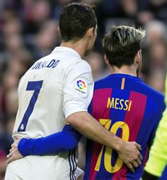 Lionel Messi & Cristiano Ronaldo during the Spanish league football match FC Barcelona vs Real Madrid CF at the Camp Nou stadium on December Messi Y Cristiano, Messi Vs Ronaldo, Cristiano Ronaldo Junior, Messi And Neymar, Barcelona Vs Real Madrid, Fc Barcelona Neymar, World Best Football Player, Soccer Players, Real Madrid Atletico