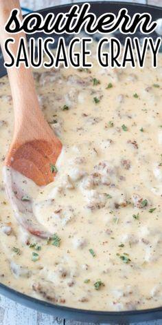 Southern Sausage Gravy, Homemade Sausage Gravy, Sausage Recipes, Beef Recipes, Best Sausage And Gravy Recipe, Southern Gravy Recipe, Homemade Gravy Recipe, Bacon Gravy, Homemade Biscuits