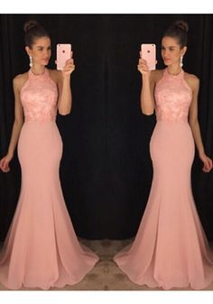 >> Click to Buy << Elegant   High Neck Sweep Train Chiffon Trumpet Mermaid Prom Dress Custom Made vestido de festa #Affiliate