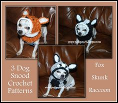 3 Dog Snoods Crochet Pattern Bundle - Fox, Skunk and Raccoon Dog Snoods
