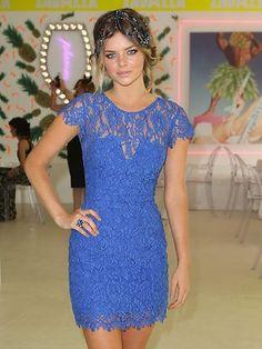 Samara Weaving wearing blue lace dress