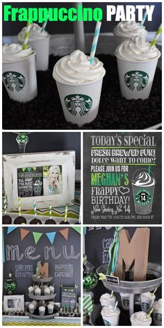 How cool is this Starbuck's Frappuccino birthday party for a teen girl! Love the…
