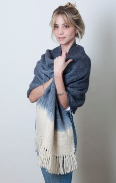 Grey handwoven shawl, Winter ombre pashmina, chunky merino wool thick knit dip dye wrap