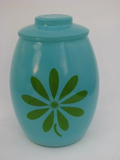 Photo of Retro daisy flower glass cookie jar kitchen canister, aqua w/ green #1