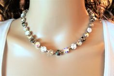 New York Wedding,Swarovski Necklace, 8MM, Bridal,  dksjewelrydesigns