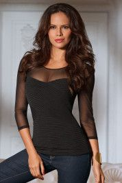 Boston Proper Pleated mesh neckline top