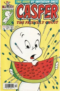 Casper the Friendly Ghost scares the watermelon seeds vintage comic book cover. Vintage Comic Books, Vintage Cartoon, Vintage Comics, Vintage Toys, Cartoon Icons, Cartoon Characters, Comic Character, Character Design, Casper The Friendly Ghost