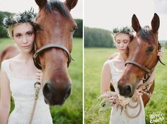Belovely Inc. Jenna Sheetz as Maid Marian bride with horse in field with flower crown by Sullivan Owen
