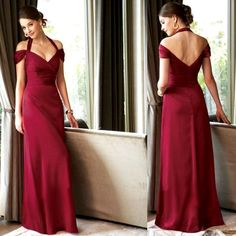 Burgundy Halter Off the Shoulder Mother of The Bride Evening Dresses  SKU-1040028