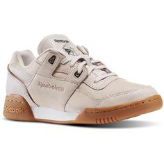 Reebok Workout Lo Plus Golden ($60) ❤ liked on Polyvore featuring shoes, 80s footwear, traction shoes, shock absorbing shoes, 80s shoes and 1980s shoes