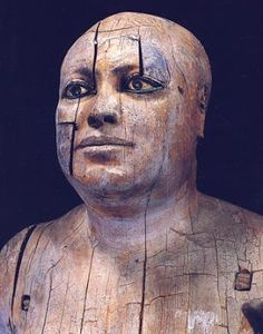 "*EGYPT ~ The Mayor of the Town"" (Egyptian Museum, Cairo), in polychrome wood. It depicts Ka-aper, who was a priest of the Fourth Dynasty circa 2400 a. Cto. It has a height of 1.10 meters."