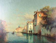 Lot 404, After Antoine Bouvard, oil, on canvas, Venetian canal scene with…
