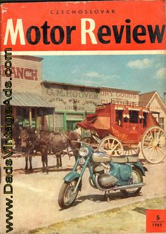 1961 Czechoslovak Motor Review - cover photo of Dodge City, Kansas Magazine Ads, Magazine Covers, Jawa 350, Dodge City, Motor Scooters, Vintage Motorcycles, Old Antiques, Vintage Pictures, Back In The Day