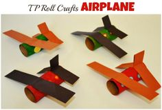Our ever favorite TP rolls have sent us to make another paper roll craft . This time we made Airplanes. This is a super easy and very kid friendly paper roll craft. One of the things I like Kids Crafts, Craft Activities For Kids, Toddler Crafts, Preschool Crafts, Projects For Kids, Arts And Crafts, Craft Kids, Toilet Paper Roll Crafts, Paper Crafts